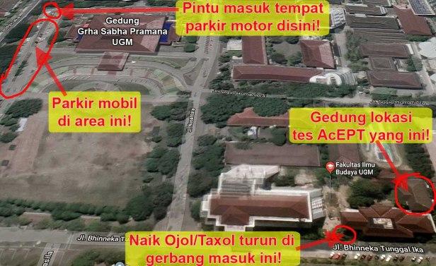 peta lokasi tes acept ugm